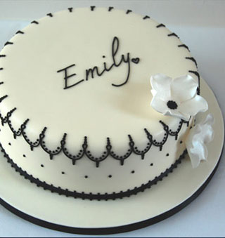 Enjoyable Black And White Lace Birthday Cake Funny Birthday Cards Online Elaedamsfinfo