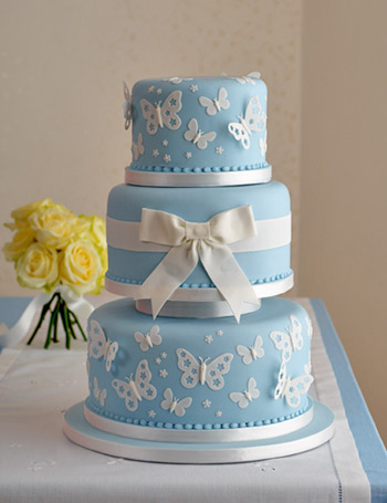 Butterfly Birthday Cake on Blue Butterfly  Wedding Cake