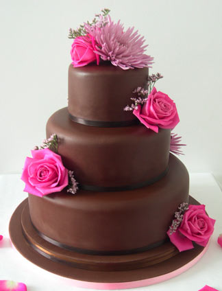 Modern Chocolate Wedding Cake