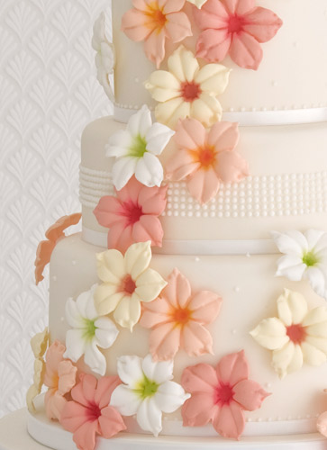 Hibiscus Flowers And Pearls Wedding Cake