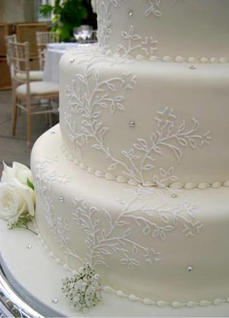Flower Birthday Cake on Lace  Wedding Cake