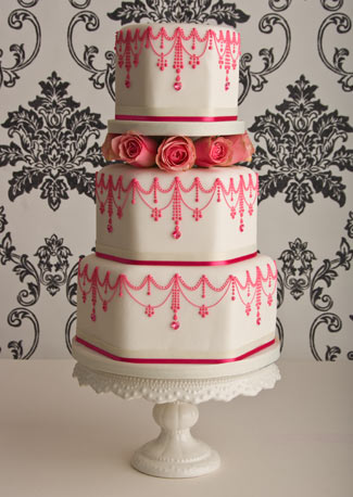 Wedding Cake on Pink Vintage  Wedding Cake