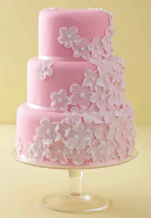 White On Pink Wedding Cake