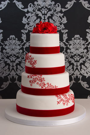 Wedding Cake on Red Velvet Lace  Wedding Cake