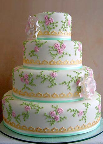 Picture of Ribbons and Roses wedding cake.