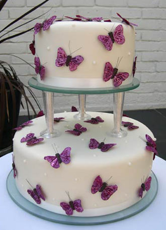 Butterfly Wedding Cake on Silk Butterfly  Wedding Cake