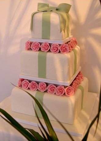 Wedding Cakes With Flowers and Ribbons