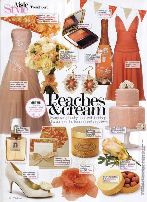 wedding magazine Peachpearlweddingcakefeature