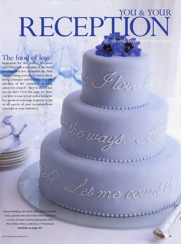 You And Your Wedding Magazine Poetry Wedding Cake